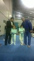 Alunos recebem o ex-judoca João Derly para a cerimônia de troca de faixa