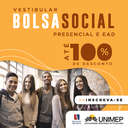 Inscrições abertas: processo seletivo da Bolsa Social Unimep de até 100% em cursos presenciais e a distância - calouros e veteranos